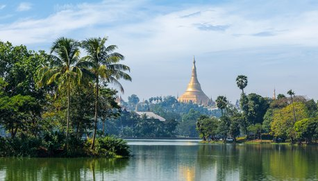Shwedagon Pagoda over Kandawgyi Lake in Yangon